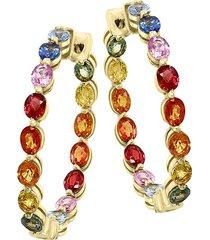 effy women's watercolor 14k yellow gold & multicolored sapphire hoop earrings