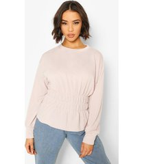 deep shirred waist sweat top, hushed violet