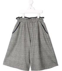familiar plaid flared shorts - grey