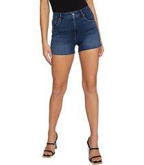 women's good american cutoff high waist denim shorts, size 12 - blue