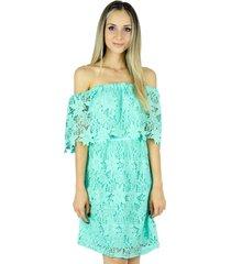 vestido liage curto liso ombro a ombro renda crochê verde água / menta