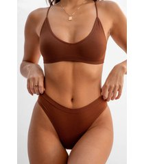 womens seamless is more ribbed high-leg thong - brown
