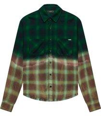 bleached shadow plaid print button down shirt