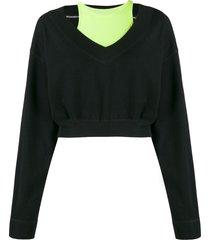 t by alexander wang bi-layer v-neck sweatshirt - black