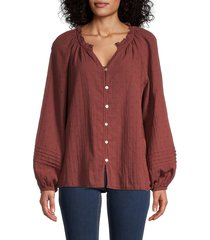 beach lunch lounge women's lucila dobby button-front top - rust - size s