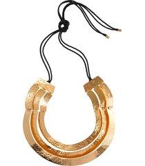 hammered gold three layer necklace, women's, cotton, josie natori
