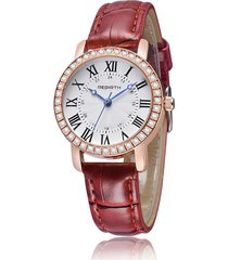 casual cinturino in pelle di quarzo orologi classico grande quadrante strass oro rosa wirstwatches per le donne