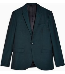 mens blue teal slim fit single breasted suit blazer with peak lapels