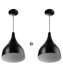 kit 2 lustre pendente gota media de alumínio 30cm preto