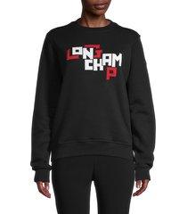 longchamp women's oversized logo fleece sweatshirt - black - size l