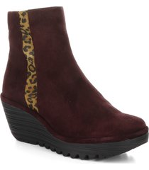 women's fly london yulu wedge bootie, size 5.5-6us - burgundy