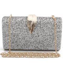 bolsa clutch liage brilhante metal brilho retangular alça alcinha prata e dourada