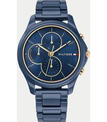 tommy hilfiger women's navy ceramic bracelet watch wi sub-dials navy sunray -