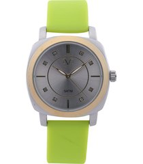 reloj plateado-verde versace 19.69