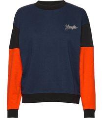 high rib retro sweat navy sweat-shirt trui blauw wrangler