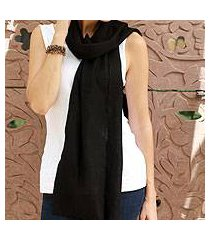 wool scarf, 'smart in ebony' (india)