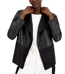 alfani petite draped open-front pleather jacket, created for macy's