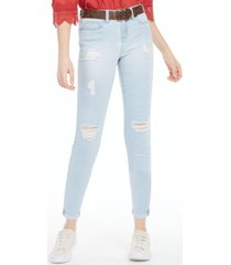 dollhouse juniors' belted distressed cuffed jeans