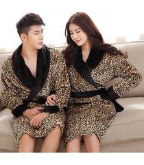 unisex leopard print long night-robe loose sleepwear flannel robe bathrobe spa