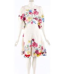 celine cream multicolor floral print linen puff sleeve romper cream/multicolor/floral print sz: l