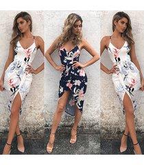 vestido de playa de impresión slim fit -azul