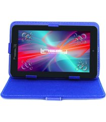 "7"" quad core 2gb ram 32gb android 10 dual camera tablet with blue leather case"