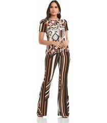pantalón estampado con rayas natural basic