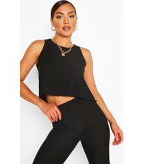geribd swinghemdje met geschulpte zoom, zwart