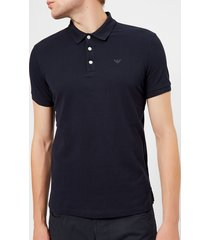 emporio armani men's small eagle polo shirt - blue scuro - xl - blue