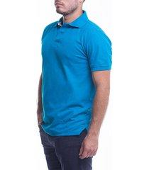 camiseta tipo polo azul turquesa hamer fondo entero