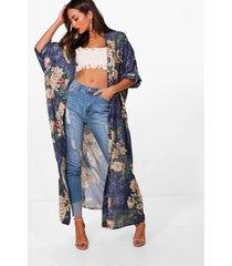 oriental floral print maxi kimono, blue