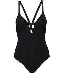 active deep v maillot baddräkt badkläder svart seafolly