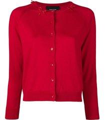 simone rocha beaded bow cardigan - red