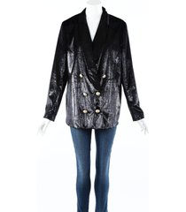 balmain blue glitter double breasted blazer jacket blue sz: l