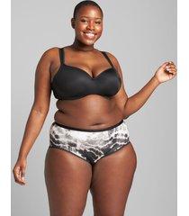 lane bryant women's cotton high-leg brief panty 34/36 tie dye black