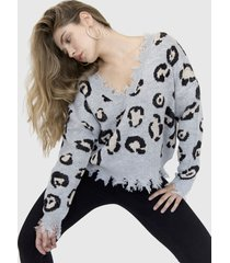 sweater animal print cora gris racaventura