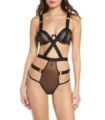 women's bluebella rani caged bodysuit, size 36dd - black