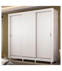 guarda roupa casal madesa lyon plus 3 portas de correr 4 gavetas com pés branco branco