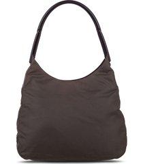 prada pre-owned triangle logo shoulder bag - black