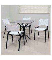 conjunto cozinha sevilha 0,75 com granito c/ 4 cadeiras isomix açomix preto