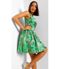 jacquard skater jurk met vierkante hals, green