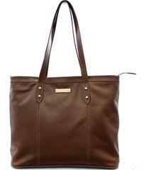 bolsa maria verônica sacola de ombro couro marrom