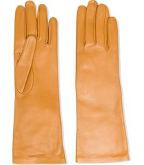 saint laurent logo-debossed 5-finger gloves - neutrals