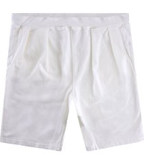 monitaly french terry pleated shorts | cream | m29450-crm