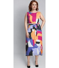 lane bryant women's geometric pleated midi dress 28 geo print