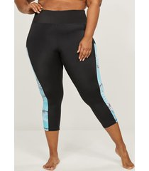 lane bryant women's swim capri legging 14 tropical maui blue