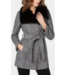 inc faux-fur-collar belted plaid coat, created for macys
