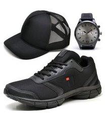 tênis masculino ousy shoes training academia ultraleve black brinde boné e relógio