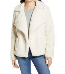 women's bb dakota faux fur jacket, size small - ivory
