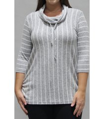 coin 1804 women's plus size vertical stripe 3/4 sleeve cowl neck drawstring top
